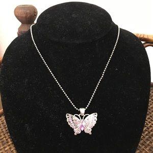 COOKIE LEE Silver & Pink Rhinestone Butterfly